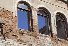 Brick wall of old destroyed house Royalty Free Stock Photography