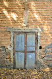 Brick wall with old door Royalty Free Stock Photos