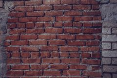 Brick wall. Old brick wall in the production area of the plant Stock Photography