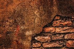 Old brick wall. Old rusty and dirty damaged brick wall Stock Photography