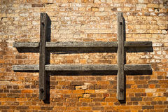Brick wall with old timber Royalty Free Stock Images
