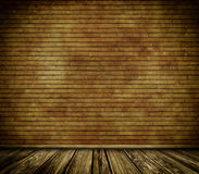 Brick wall and old wooden floor background. Royalty Free Stock Images