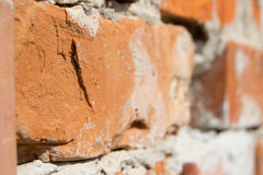 Brick Wall. Orange brick in the wall Royalty Free Stock Image