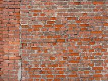 Brick wall. Orange old cracked brick wall texture Stock Photography