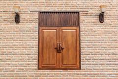Brick wall with oriental window Stock Photo