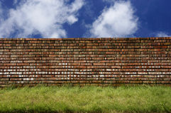 Brick wall over blue sky Royalty Free Stock Photo