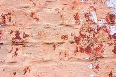 The brick wall is painted in beige color. Peeling paint from bri Royalty Free Stock Images