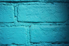 Brick wall painted blue. Vintage effect. Macro. Stock Photography