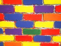 Brick wall painted children Stock Photos