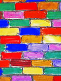 Brick wall painted children Stock Photography
