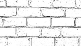 Brick wall painted with a pencil Stock Photos