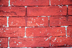Brick wall painted red Royalty Free Stock Photos