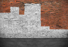 Brick wall painted with white paint. Old brick wall painted with white  paint Stock Photo