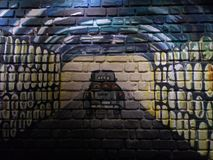 Brick wall painting Stock Images