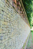 Brick wall in a park in Norfolk stock photo