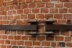 Brick wall part chimney old canvas bonded iron stripe urban style grunge design base factory stock image