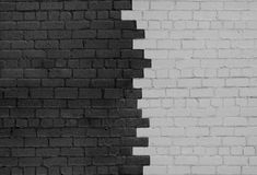 Brick Wall Parted on Dark and Light Sides Stock Photography