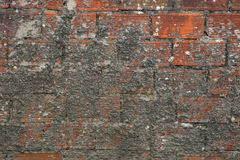Brick wall partly covered with cement. Royalty Free Stock Photos