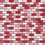 Brick wall pattern. Seamless vector. Background - red, rose and pink rectangular bricks on black backdrop vector illustration