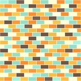 Brick wall pattern. Seamless vector brick background. Beige, brown, orange, yellow, green rectangles on white backdrop Royalty Free Stock Photos