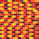 Brick wall pattern. Seamless vector. Background - maroon, red, orange, gold, yellow rectangles on white backdrop Royalty Free Stock Images