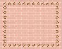 Brick wall with paw prints frame Royalty Free Stock Photography