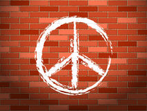 Brick wall and peace symbol Stock Photo
