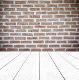 Brick wall and perspective white wood background,product display. Template, room, table Stock Images