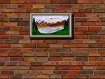 Brick wall  and picture Stock Image