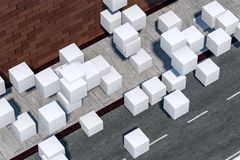 The brick wall and pitch street, 3d rendering vector illustration