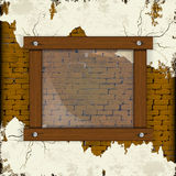 Brick wall with plaster and wood frame Stock Photos