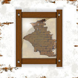 Brick wall with plaster and wood frame Royalty Free Stock Images