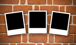 Brick wall with Polaroids Stock Image