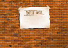 Brick wall with a poster. vector illustration Stock Images