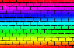 Brick wall with rainbow colors Royalty Free Stock Images