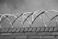 Brick wall with razor wire on it Royalty Free Stock Images