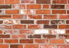 Brick wall red. Old red brick wall with traces of white paint royalty free stock photography