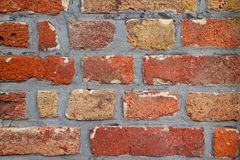 Brick wall of red color, closeup of masonry royalty free stock photography
