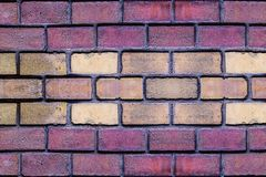 Brick wall red dark terracotta stone rectangle beige sand design close-up horizontal base royalty free stock images