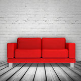 Brick wall and red leather sofa, 3d illustration Stock Images