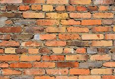 Brick wall of red uneven bricks. Brick wall of red uneven bricks stock images