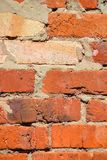 Brick wall of red uneven bricks. Close-up.  stock images