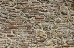 Brick wall red and yellow colors Royalty Free Stock Images