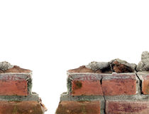 close up ancient brick wall isolated on white background Royalty Free Stock Images