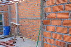 Brick wall in residential building construction Royalty Free Stock Photography