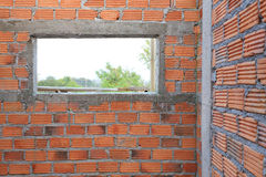 Brick wall in residential building construction Royalty Free Stock Images