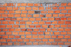 Brick wall in residential building construction Stock Photos