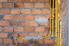 Brick wall in residential house building construction site Royalty Free Stock Image