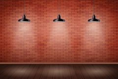 Brick Wall Room With Vintage Lamps Stock Image