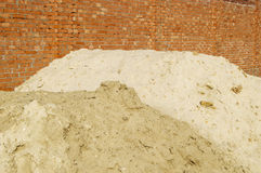 The brick wall and sand Royalty Free Stock Photography